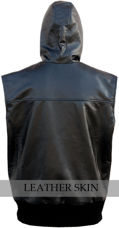 Black Hooded Fashion Premium Genuine Real Leather Vest w/ Hood Quilted Lining image 2