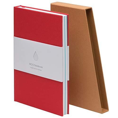 Primary image for MOO Lined Hardcover Notebook - Premium Red Lay Flat Journal - Medium-size, Thick