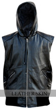 Black Hooded Fashion Premium Genuine Real Leather Vest w/ Hood Quilted Lining image 1