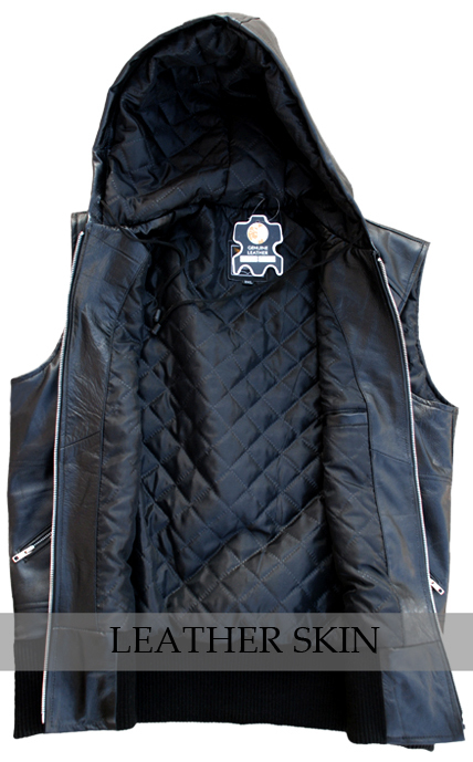 Black Hooded Fashion Premium Genuine Real Leather Vest w/ Hood Quilted Lining image 3
