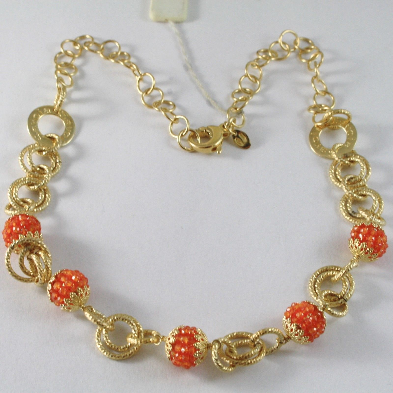 925 STERLING SILVER NECKLACE WITH CARNELIAN FINELY WORKED BALLS & CIRCLES, ITALY