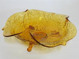 Fenton Art Glass 1930's ~ Amber Silvertone ~ 3 Toed Footed Club Shape Bo... - $49.95