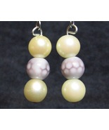 Polka-Dot-Pearl Earrings - Cream Off-White Purple - $10.00