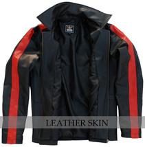 Black w/ Red Stripes Panels Fashion Stylish Premium Genuine Real Leather Jacket image 3