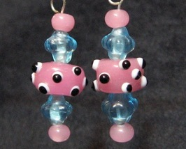 Pink and Blue I'm All Eyes Baby Dangle Earrings Lampwork - $20.00