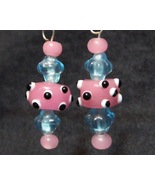 Pink and Blue I'm All Eyes Baby Earrings Lampwork - $10.00
