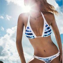 Striped Bikini Set Halter Triangle Push Up Swimsuit Low Waist Swimwear Brazilian image 1