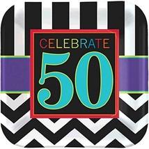 "50th Celebration Chevron Stripes Adult Birthday Party 9"" Square Dinner Plates - $6.79"