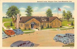 Entrance Lodge Niagara Cave Iowa Minnesota Line US 52 linen postcard - $6.44