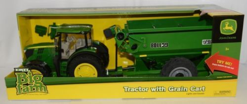 John Deere TBEK46284 Big Farm 6210R Tractor With Grain Cart Lights Sounds