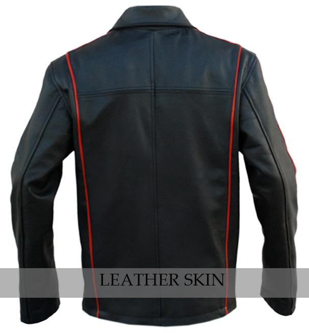 Black w/ Red Stripes Panels Fashion Stylish Premium Genuine Real Leather Jacket image 2
