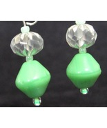 Victorian Green Ruffle Earrings - $4.00