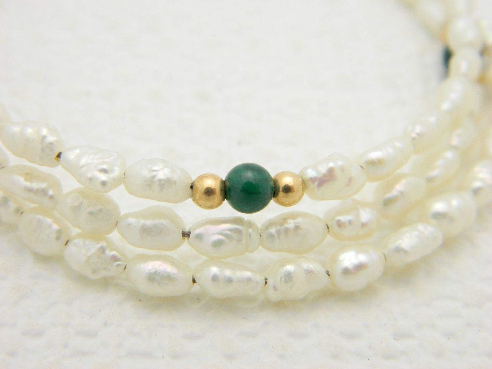 VTG FRESHWATER PEARLS & Malachite Gemstone Adjustable Expandable Bracelet image 3
