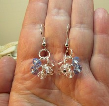 Crystal Cluster Blue and Pink crystal bead Cluster Earrings Petite HC - $10.60