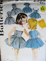 Butterick 2553 Vintage 50s Pattern Girls size 6 Bodice Dress Square Collar - $15.95