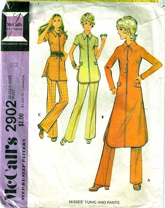1971 TUNIC & PANTS Pattern 2902-m Size 12  Bonanza