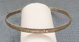 ANTIQUE ART NOUVEAU SOLID STERLING SILVER FLORAL BANGLE BRACELET SIZE 7 ... - $39.95