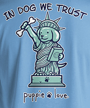 Puppie Love Rescue Dog Adult Unisex Short Sleeve Graphic T-Shirt, Liberty Pup image 2