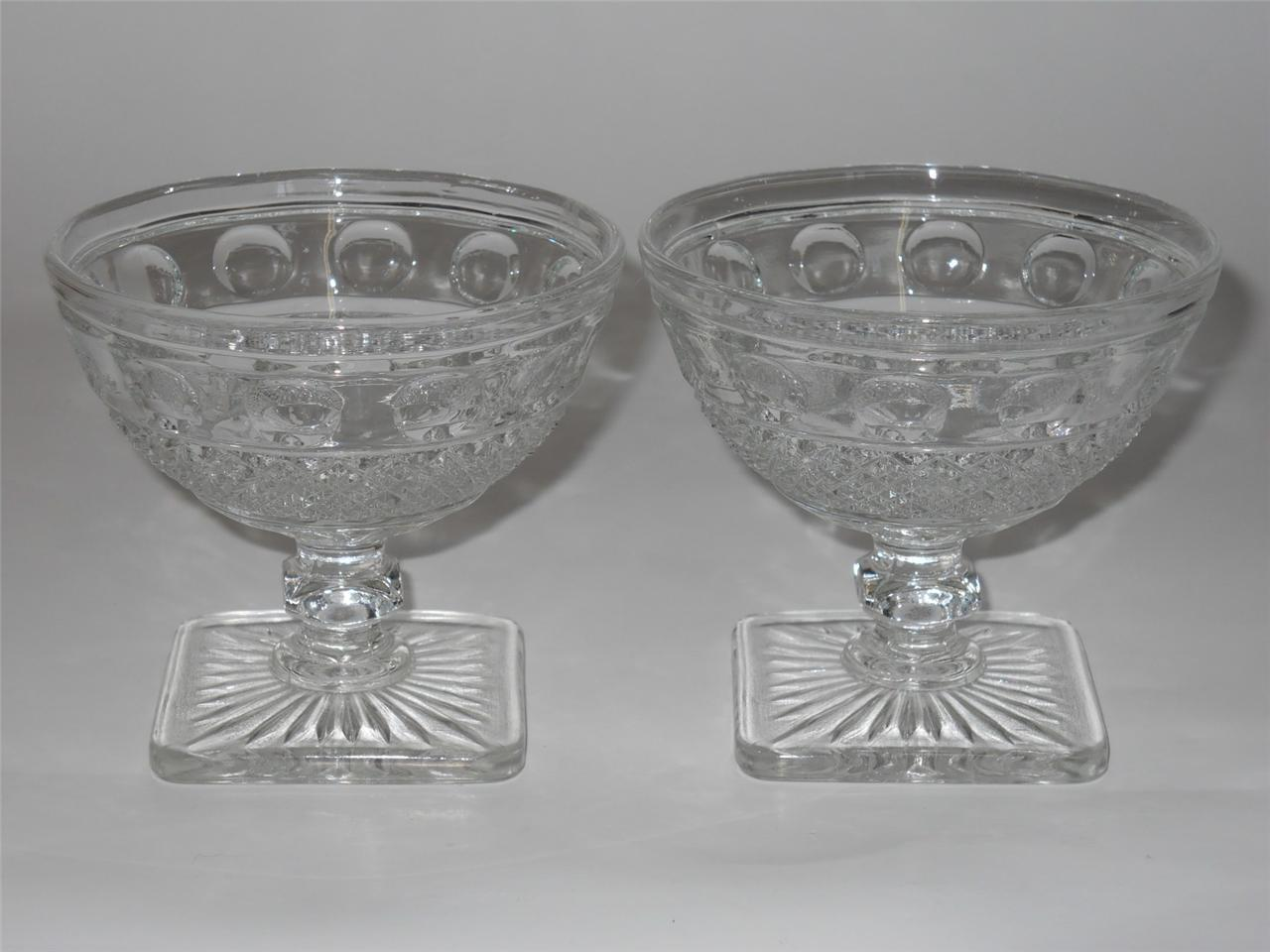 Primary image for Imperial ~ Tradition ~ Clear Glass Square Footed Sherbets (2) ~ Dessert Dish