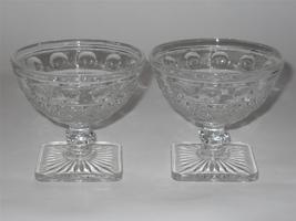 Imperial ~ Tradition ~ Clear Glass Square Footed Sherbets (2) ~ Dessert ... - $17.95