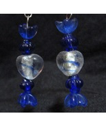 Dark Blue Foil Heart Glass Earrings - $10.00