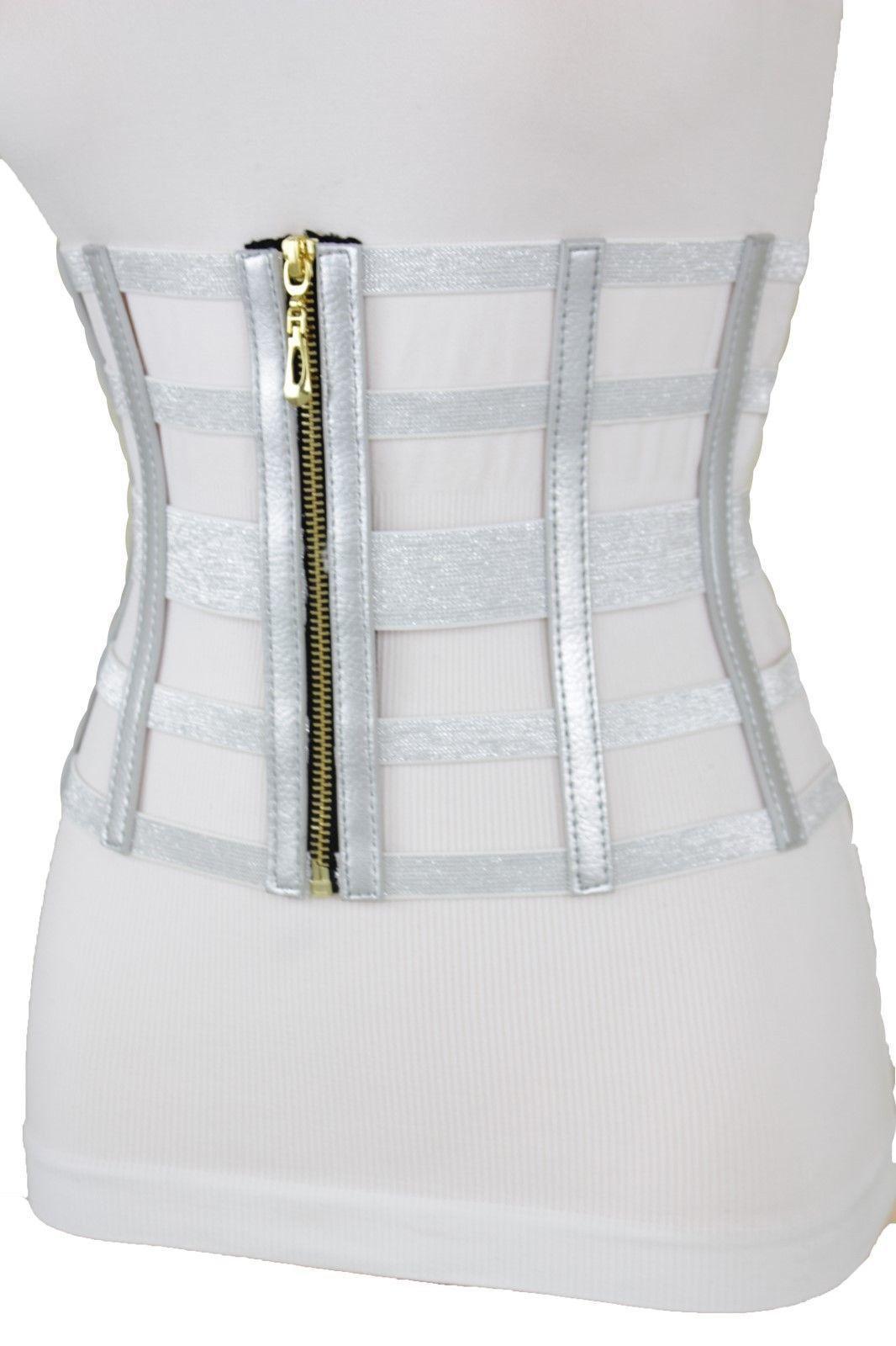 Damen Breit Silber West Elastisch Korsett Gürtel Hohe Taille Gold Reißverschluss