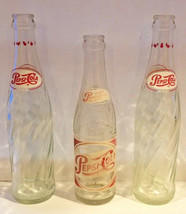 Lot of 3 1970s Pepsi Cola Bottle Clear Red White  Swirl Twist Glass - $3.75