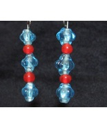 Light Blue and Orange Glass Earrings - $10.00