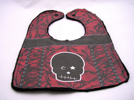 An item in the Baby category: Reversible Baby Bib Red and Black Gothic Lace Corset Bib Black Punk Skull Star