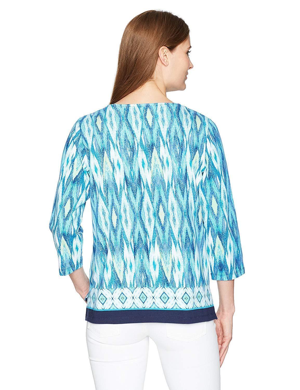 Alfred Dunner Women's Ikat Border Print Knit Top 3/4 Slv, Multi, Medium, 4402-4