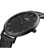 Stainless Steel Slim Men Watch Quartz Watch Black Face (Black Leather) - $61.87