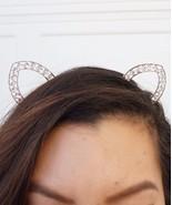 Crystal Cat Ears, Cat Ears Headband, Rave Cat Ears, Festival Cat Ears, S... - $15.64