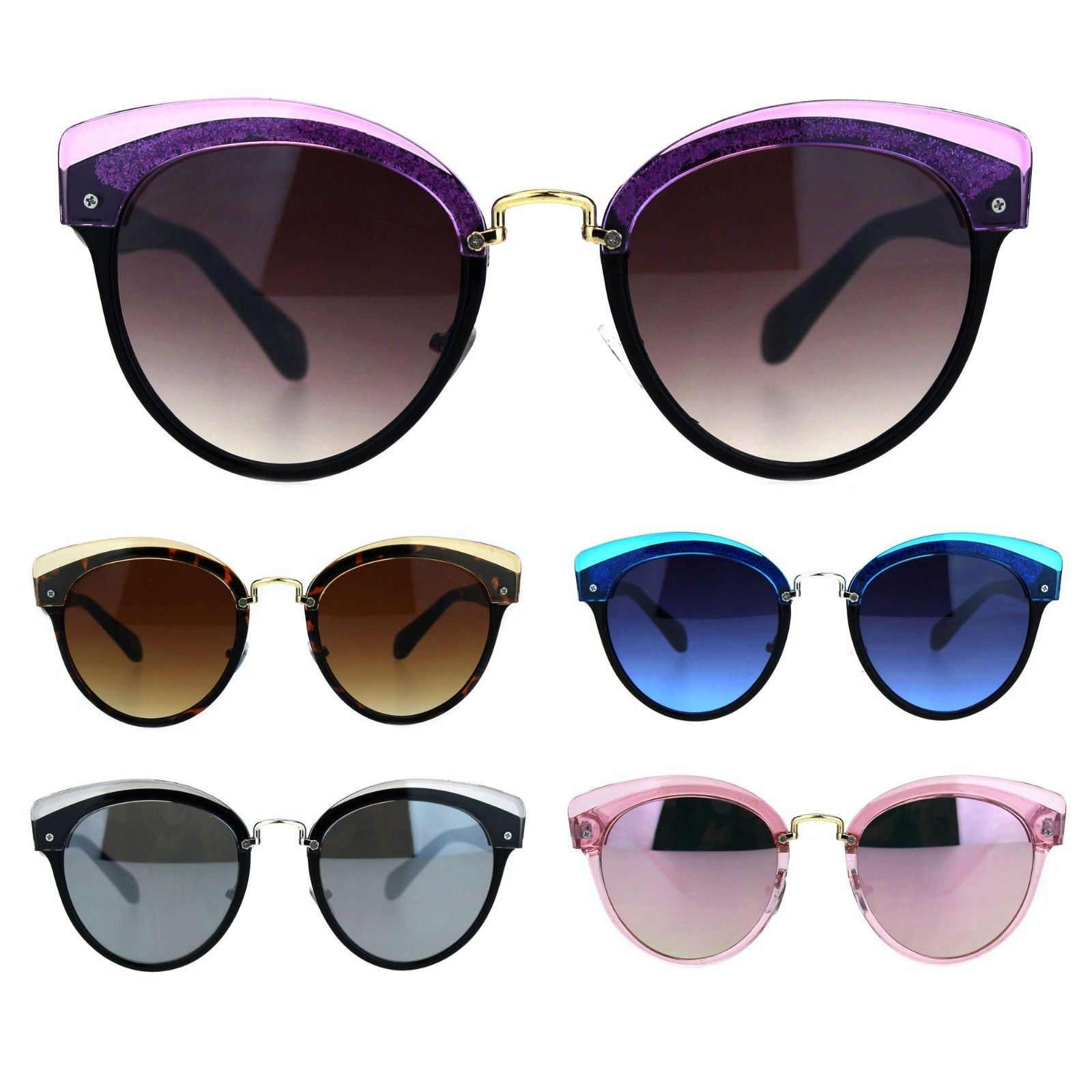 Womens Half Eyebrow Rim Designer Horned Fashion Sunglasses
