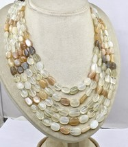 NATURAL MULTI MOONSTONE BEADS CABOCHON 5 LINE 950 CTS GEMSTONE LADIES NECKLACE image 2