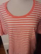 Womens Striped Tee Shirt 1X  Orange White  L L Bean Short Sleeve 100% Co... - $6.99