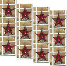 Twelve (12) wrought iron frame red glass hanging star candleholder lanterns - $83.00