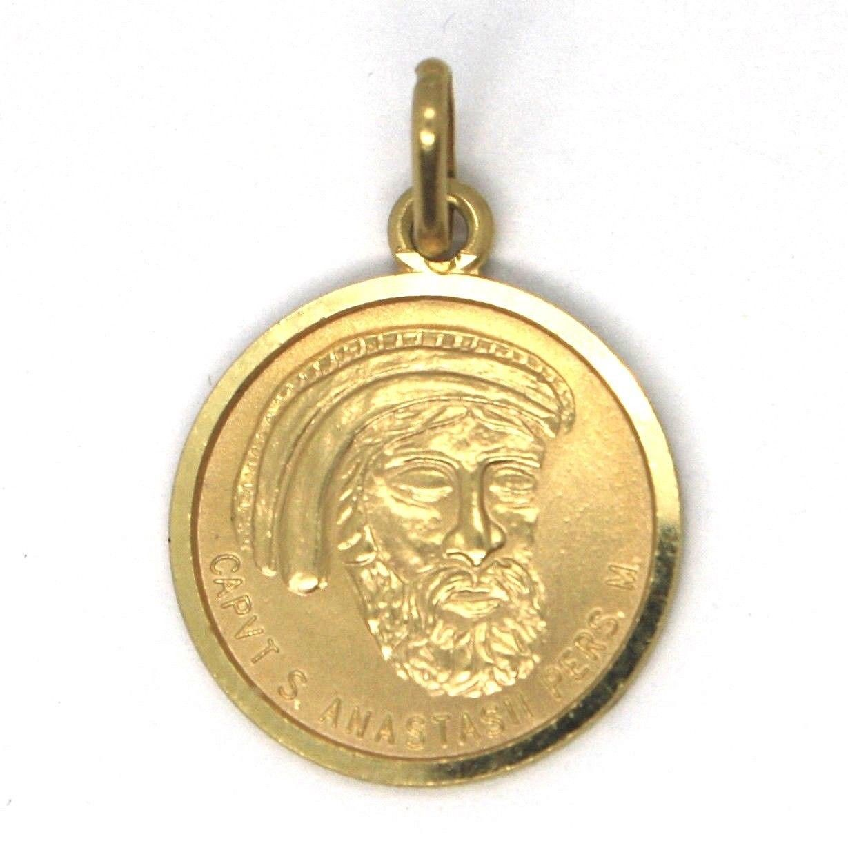 PENDANT MEDAL YELLOW GOLD 750 18K SAINT ANASTASIO, ROUND, MADE IN ITALY