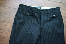 Banana Republic Martin Fit sz2 Black striped Wool Dress Pants W 14.5 I31... - $17.09
