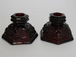Vintage Avon Ruby Red 1875 Cape Cod Collection  Candlesticks  Candle Hol... - $19.95