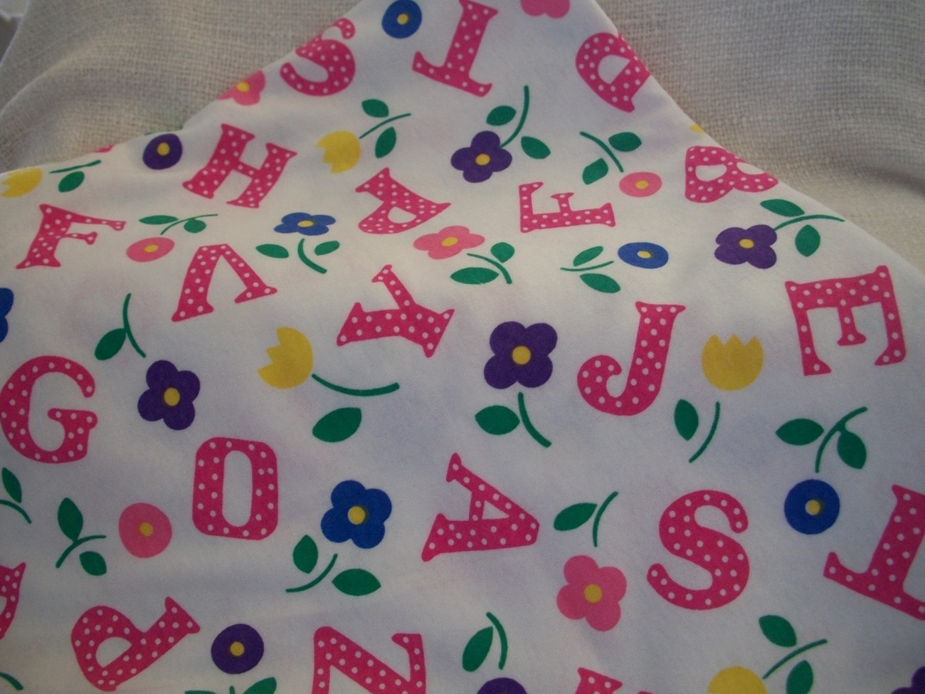 Primary image for White Floral Alphabet Print Cotton Blend Fabric