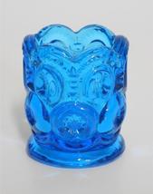 "Vintage L. E. Smith ~ Moon & Stars ~ Blue Glass Toothpick Holder 2 3/8"" ... - $19.95"
