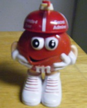 M&M Figurine Candy Container Red Wearing Hat w Arrow Printed Love U Plastic - $4.99