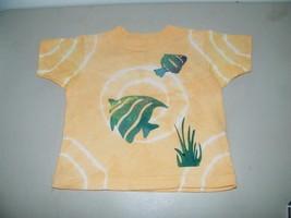 Hand Painted Dyed Orange Fish Tee TShirt 2T T Shirt Orange 14716 tee - $5.90