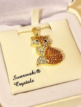 Artistique Swarovski Crystal & 14k Gold - Orange Fox Pendant Necklace NIB image 4