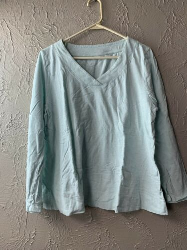 Primary image for Pure J. JILL size LARGE Sleep Brushed Tee V-neck Top Ultrasoft Size Large