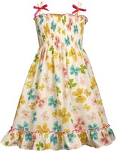 Bonnie Jean Little Girl 4-6X Double Strap Butterfly Print Smocked Dress