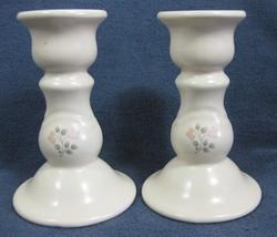 "Pfaltzgraff Remembrance Pair of 5"" Small Candlesticks Stoneware - $12.71"