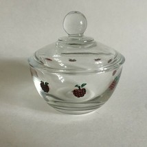 """Glass Covered Candy Dish w/Lid Strawberry Motifs 4"""" X 4"""" country Cottage... - $11.63"""