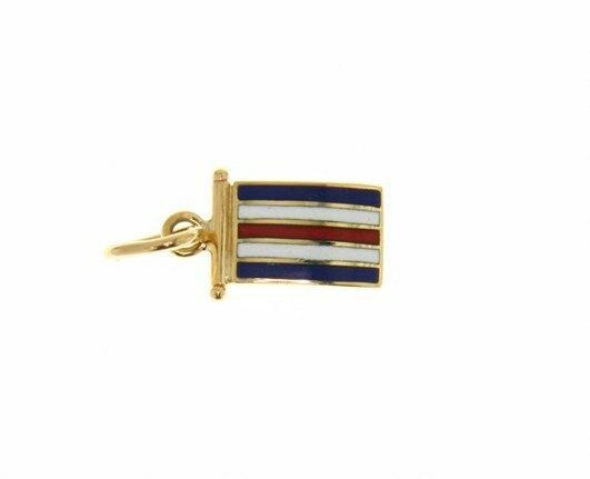 18K YELLOW GOLD NAUTICAL GLAZED FLAG LETTER C PENDANT CHARM MEDAL MADE IN ITALY