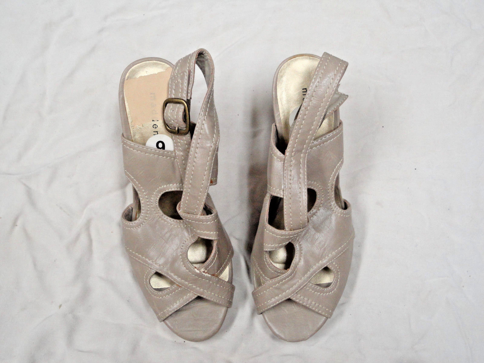 Primary image for Madden Girl taupe colored sandal   Size 9  Adjustable Buckle